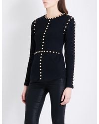 Balmain - Black Stud-detailed Wool And Silk-blend Jumper - Lyst