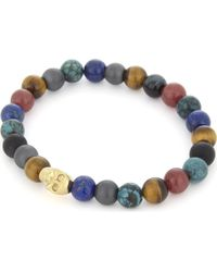 Nialaya - Multicolor Multi-coloured Bead And 18ct Gold-plated Skull Bracelet for Men - Lyst