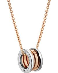 BVLGARI - B.zero1 18kt Pink And White-gold Necklace - Lyst