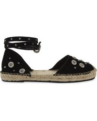 The Kooples Black Embellished Daisy Suede Espadrilles
