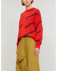 Balenciaga Logo-intarsia Wool-blend Jumper - Lyst 97ebecfc1
