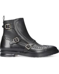 Alexander McQueen - Black Triple Buckle Leather Boots for Men - Lyst