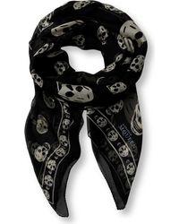 Alexander McQueen - Black Skull-print Silk-chiffon Scarf - Lyst