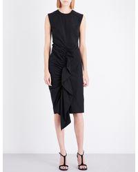 Sportmax - Black Ruffle Front Cotton-blend Dress - Lyst