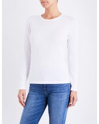 Sunspel - White Long-sleeve Cotton-jersey Top - Lyst