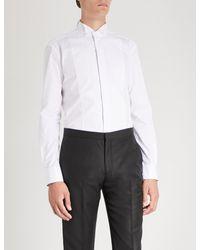 Emporio Armani - White Lined-bib Cotton Shirt for Men - Lyst