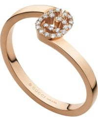 Gucci - Pink Gg 18ct Rose-gold And Diamond Ring - Lyst