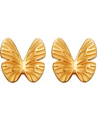 Astley Clarke - Metallic Mini Butterfly Biography 18ct Yellow Gold-plated Stud Earrings - Lyst