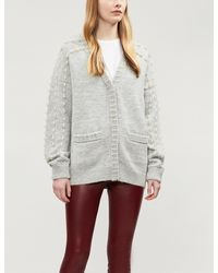 ad9d2f6cc4 Lyst - Maje Pearl-embellished Knitted Cardigan in Gray