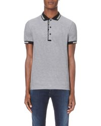 BOSS - Black Striped-trim Cotton-jersey Polo Shirt for Men - Lyst