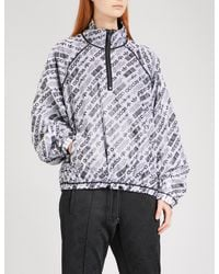 Alexander Wang - Black Logo-print Sports Mesh Shell Coat - Lyst