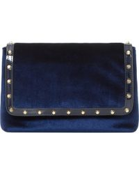 Dune | Blue Borriss Studded Flapover Clutch Bag | Lyst