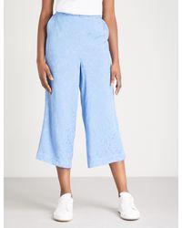 Kitri - Blue Wheeldon Cropped Crepe Trousers - Lyst