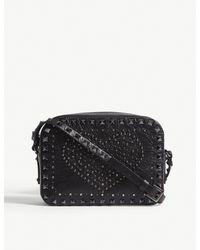Valentino Black Swarovski Crystal Heart Leather Cross Body Bag