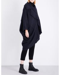 Y's Yohji Yamamoto - Blue Asymmetric Knitted Cape - Lyst