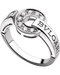 BVLGARI - Metallic - 18kt White-gold And Diamond Ring - Lyst