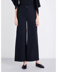 J.W. Anderson | Blue Pinstriped Wide-leg Wool-blend Trousers | Lyst