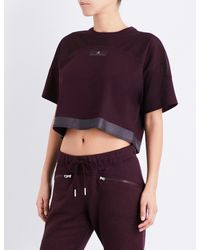 Adidas By Stella McCartney - Black Essentials Jersey Cropped Top - Lyst