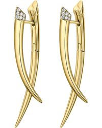 Shaun Leane - Metallic Crossover Tusk Yellow Gold Vermeil And Diamond Earrings - Lyst