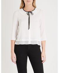 Claudie Pierlot - White Tie-detail Crepe Blouse - Lyst