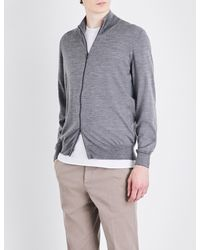 Brunello Cucinelli - Gray Zip-up Cashmere Cardigan for Men - Lyst