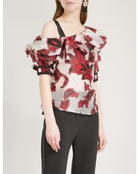 Self-Portrait - Red Floral Fil-coupe Top - Lyst