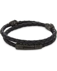 Nialaya - Black Braided Leather Skull Bracelet for Men - Lyst