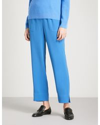 St. John - Blue Cropped Crepe Trousers - Lyst