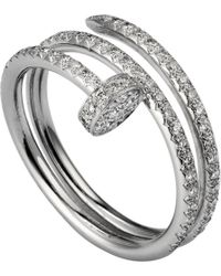 Cartier   Metallic Juste Un Clou 18ct White-gold And Diamond Double Ring   Lyst