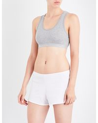 Sunspel | Gray Ladies Grey Melange Cropped Classic Racerback Stretch-cotton Top | Lyst
