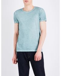 BOSS Orange - Blue Faded-seam Cotton T-shirt for Men - Lyst