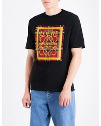 Loewe   Black Tartan Patch Cotton-jersey T-shirt for Men   Lyst