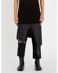 Rick Owens - Blue Asymmetric Frayed-hem Denim Skirt for Men - Lyst