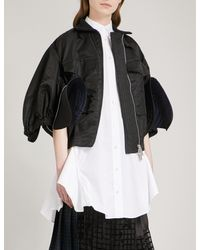 Sacai - Black Cropped Satin Bomber Jacket - Lyst
