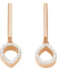Monica Vinader - Metallic Naida Mini Lotus 18ct Rose Gold Vermeil And Diamond Earrings - Lyst