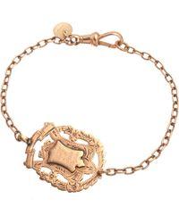Annina Vogel - Metallic 9ct Rose-gold Knowledge Comes But Wisdom Lingers Medallion Antique Bracelet - Lyst