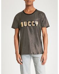 960f3c67d Gucci Guccy-print Metallic Cotton-jersey T-shirt in Black for Men - Lyst
