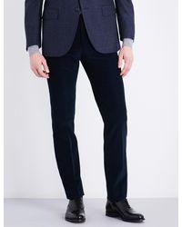 Corneliani - Blue Slim-fit Mid-rise Corduroy Trousers for Men - Lyst