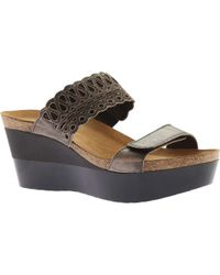7a70018708c3 Lyst - Naot Rise Wedge Sandal in Black