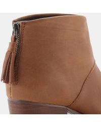 TOMS - Brown Leila Leather Bootie - Lyst