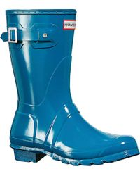 941beaed6ae Lyst - HUNTER Original Short Gloss Rain Boot in Blue
