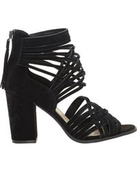 Jessica Simpson - Black Reilynn Suede Leather Back Zip Block Heel Strappy Sandals - Lyst