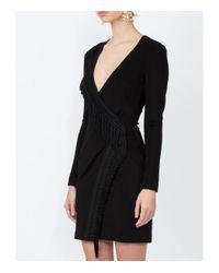 Galvan - Black Wrap Fringe Detail Dress - Lyst