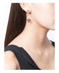 Noor Fares - Metallic Gold Octahedron Earrings - Lyst