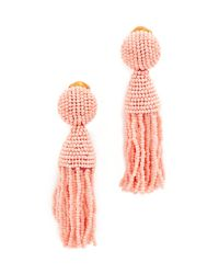 Oscar de la Renta - Multicolor Short Beaded Tassel Clip On Earrings - Lyst
