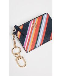 Tory Burch - Blue Robinson Stripe Card Case Key Fob - Lyst