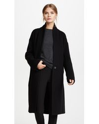 Vince - Black High Collar V Neck Coat - Lyst