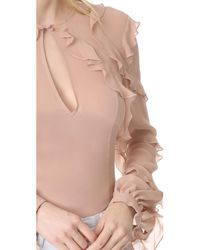Nicholas - Pink Silk Georgette High Neck Ruffle Blouse - Lyst