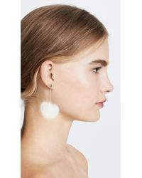 Kate Spade - White Pouf Earrings - Lyst