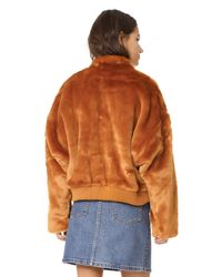 Free People - Multicolor Furry Bomber Jacket - Lyst